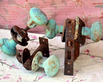 Antique Green - Gold Patina Doorknob Set: Instant Collection of 6 Rustic Door Knobs & Attached Hardware -- Verdigris, Rusty, Chippy Paint