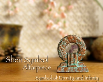 Shen Symbol Altarpiece - Symbol of Infinity and Eternity - Protective Symbol - Handcrafted Altar Icon with Copper Pigment Patina Finish