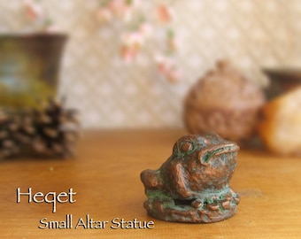 Heqet Altar Icon - Ancient Egyptian Fertility Goddess - Handmade Polymer Clay Mini Statue with Aged Bronze Patina Finish
