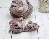 "Recycled Sari Ribbon ,by the yard, ""Dried Rose"" hand dyed chiffon ribbon, jewelry making, doll clothing, spinning supplies"