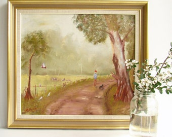 Oil Landscape Painting, Girl and Dog, Pink Galahs, Australian Country, Wodonga Victoria, Signed Original Art, Ready Framed,
