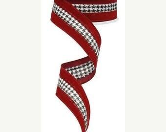 18% OFF 1.5 Inch White Black Crimson Small Houndstooth Velvet Ribbon RG8616