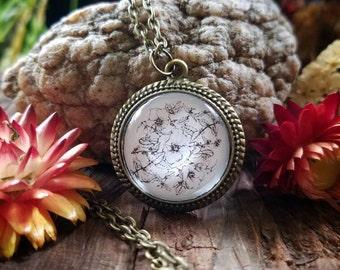 July Nature Mandala Pendant Necklace (bronze finish)