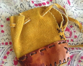 Small Vintage Suede and Leather Drawstring Pouch