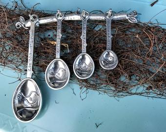 Pewter Measuring Spoons on Display Strip, Measuring Spoons on Wall Strip, Bird Spoons by Crosby & Taylor formerly Tin Woodsman Pewter
