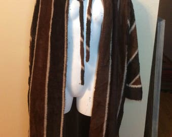 Vintage 1960s 1970s Rare James Galanos Faux Fur Striped Full Length Swing Coat / Opera Jacket / Robe