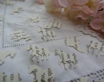 Unicorn shaped upcycled book confetti - wedding table decoration - whimsical - fairy party