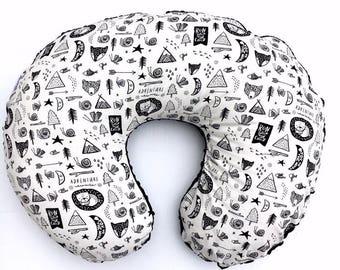 Nursing Pillow Cover- ADVENTURE AWAITS- boppy cover- monochrome boppy cover- black and white boppy- boppy pillow- woodland dreaming