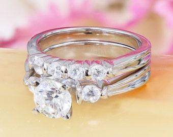 14k white gold round cut diamond engagement ring and band bridal set deco, anniversary, wedding set, prong set, band, matcning 1.05ct