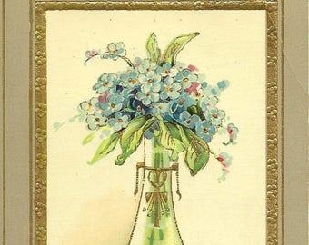 Elegant Vase of Forget-me-Nots Vintage Postcard Do You Remember? Antique Floral Postcard - Spring Flowers