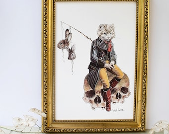 Puss in Boots white cat fairy tale artwork print. Featuring rabbits and skulls. Gift for cat lovers. Wall art
