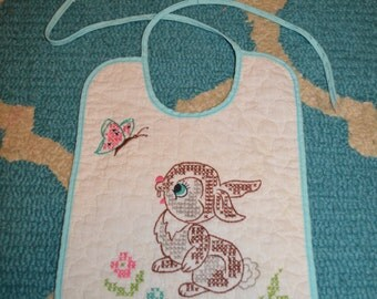 Vintage Baby Bib Embroidered Thumper Disney