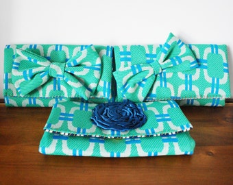 CLEARANCE-- SET OF 3 Seafoam and Blue Vintage Fabric Trifold Clutch Wallets v. 1
