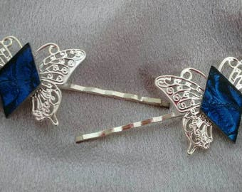 Hair pins Bobby pins butterflies van gogh stained glass Brockus Creations wedding accessories