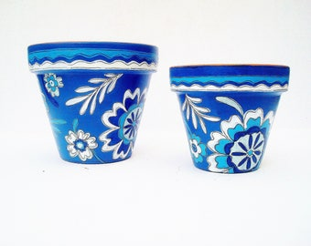"Small Planter, Hand Painted Terracotta Pot in ""Indigo"" 4 Inch Flower Pot, Blue and White Planter"