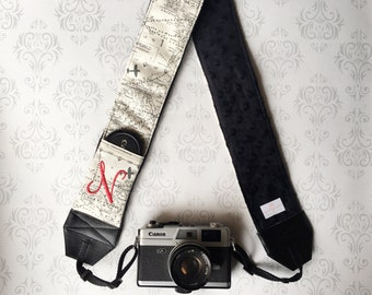 Personalized DSLR Camera Strap, Extra Long, Lens Cap Pockets, Nikon, Canon, DSLR Photography, Photographer - Maps with Black Minky
