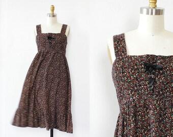 Peasant Dress S •70s Dress • Empire Waist Dress • Corduroy Dress • Floral Dress • Vintage Floral Dress • Lace Up Dress  | D1114