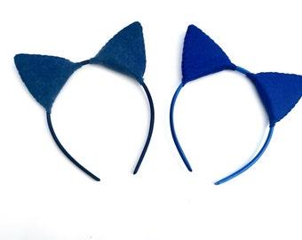 Wool Felt Blue Cat Plush Ears Headband