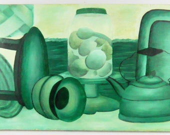 Vintage Modern Still Life Monochromatic Green Painting Retro Kitchen Eggs 12X18