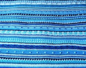 Crochet striped blanket throw afghan blue cream sand turquoise mint