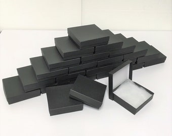 100 Pack Matte Black Boxes (3.5 x 3.5 x 1 in) // ECONOMY SIZE //