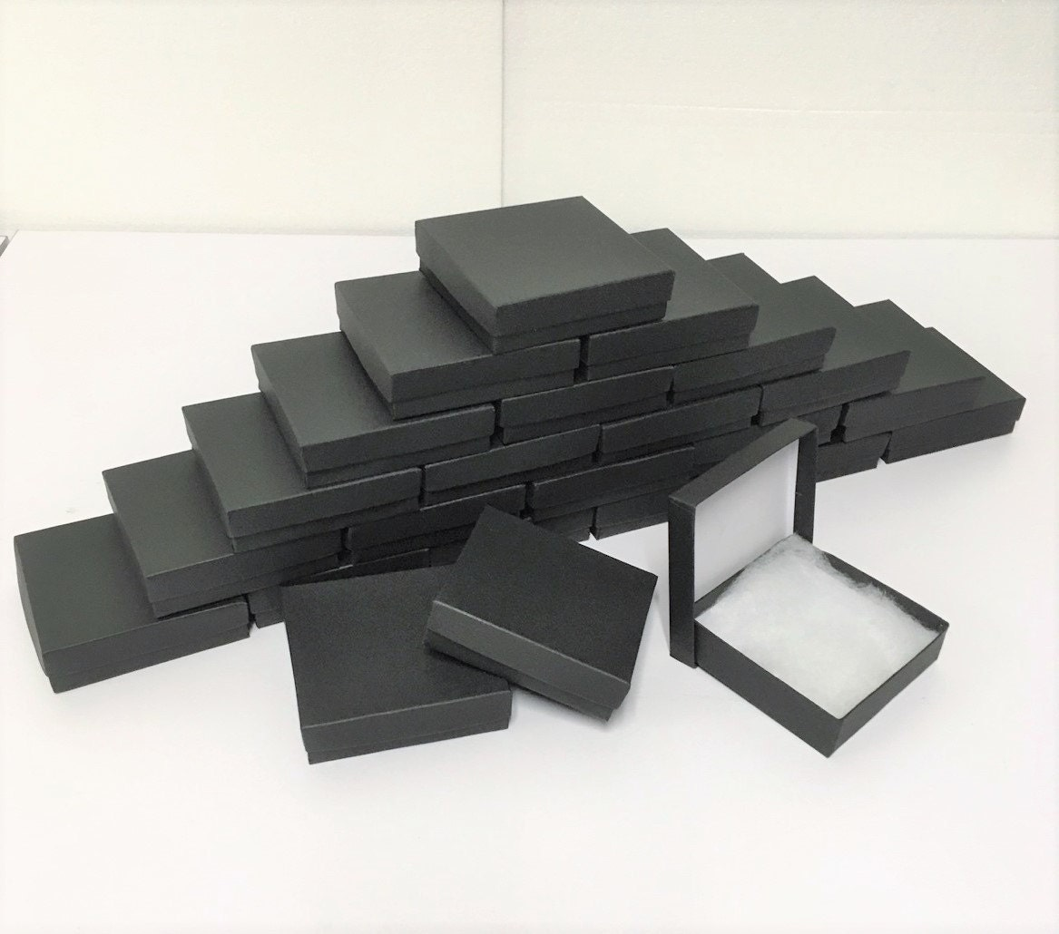 100 pack matte black boxes 3 5 x 3 5 x 1 in economy for Black box container studios