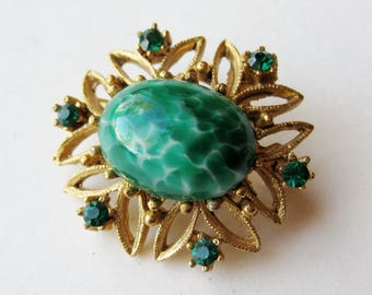 Vintage 50s Czech Jeweled Specked Green Art Glass Rhinestone Brooch Pin