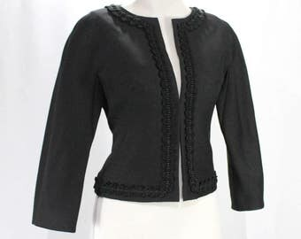 Size 10 Black Jacket - 1950s Sharp Tailored Crop Waist Blazer - 3/4 Sleeve - Cropped Waist - Elegant 50s 60s Wool & Braid - Bust 36 - 48551