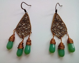 Filigree green bead wire wrap drops earrings