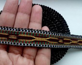 Uzbek handwoven cotton trim Jiyak. Tribal ethnic, boho, hippy trim. TR073