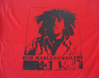 Vintage 80's BOB MARLEY and the Wailers Reggae red weed smoking 50/50 T Shirt Adult size L