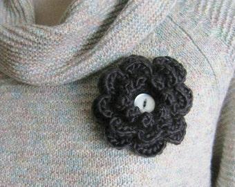Crochet Flower Pin-Grey Flower Pin-Flower Brooch- Crochet Flower-Scarf Pin-Grey Flower with Button-Crocheted Pin- Flower Hat Pin