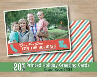 New Home for Holidays Christmas Photo Card, Moved States Holiday Greeting Card, Post Card Stripe, Home for the Holidays, Printed, Digital
