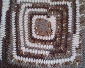 Thick Crochet Blanket In Brown, Tan and Off-White