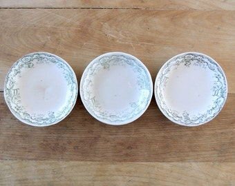 SETof 3 Vintage Meakin Ironstone Green Transferware Butter Pats Plates Erie England