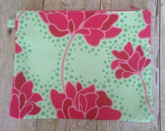 Large Zipper Pouch - Green and Pink Floral Fabric - Zippered Clutch - Large Wristlet - Large Pencil Pouch