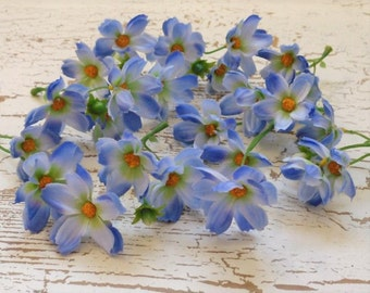 24 Baby Cosmos in Periwinkle Blue - Artificial Flowers, Silk Flowers, Hair Accessories, Flowers Crown, Wedding, Millinery, Scrapbooking
