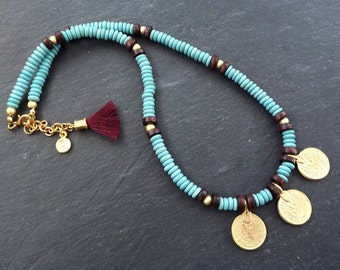Turquoise Gold Coin Tassel Layer Necklace - Blue Stone Wood Beads Hippie Bohemian Artisan