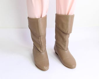 VINTAGE 1980s Pixie Boots Leather Folded Size 8