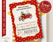 Firetruck Invitation, Firetruck Birthday Invitation, Firetruck Birthday Party, Firetruck Party Invitation, BeeAndDaisy