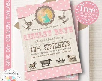 Pink Vintage Farm Birthday Invitation, Farm Invitation, Farm Party, Girl First Birthday, Girl Birthday, Farm Photo Invite, BeeAndDaisy