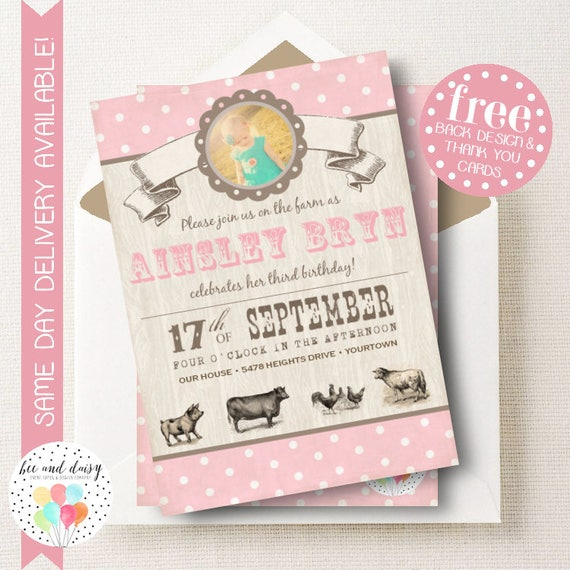 Pink Vintage Farm Birthday Invitation Farm Invitation Farm Party - Vintage girl birthday invitation