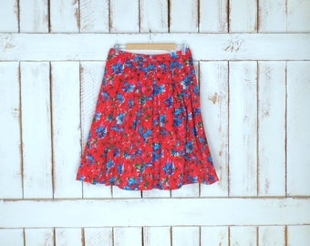 Vintage 90s red/blue floral short cotton pleated skirt/Talbots/4