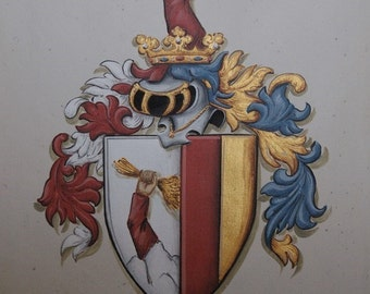 Custom Family Crests & Coat of Arms Paintings 9 x 12 Canvas or Watercolor Paper