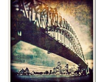 Sydney Harbour Bridge - Grunged Photographic Print by Doug Armand on Etsy