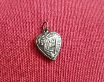 Vintage Antique Sterling Silver Puffed Heart Pendant Charm God Bless America American Flag Star
