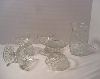 Carafe and 4 Stemmed Glass Set Diamond or Kriss Kross Pattern Pressed Glass Decanter and Glass Set