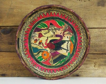 Vintage Mexican folk art / Clay plate / Bird Painting