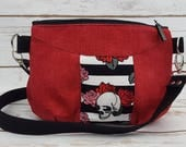 Gerbera Bag - Skulls - Red and Black - Floral - Cross Body Strap - Purse - Pouch