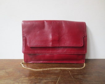 Vintage '70s Oxblood Envelope Purse w/ Tons of Pockets! Convertible Clutch, Gold Chain